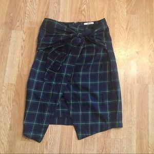 J.O.A tartan plaid tie front wrap skirt blue green